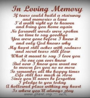 Loving Memory Poems Dad