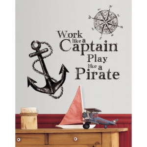 Details about New WORK LIKE A CAPTAIN PLAY LIKE A PIRATE WALL DECALS ...