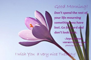 Tuesday good morning quotes dont spend the rest of your life mourning ...