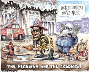 Funny photos funny Obama firefighter political cartoon