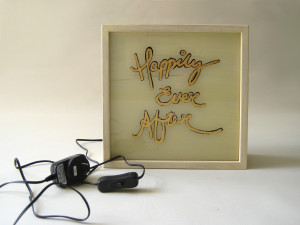 "... EVER AFTER"" Wedding Quotes Wooden Light Box Shabby Chic White Timber"
