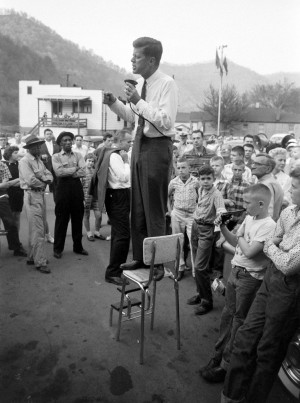 John F. Kennedy, campaigning for thepresidency, in Logan County, West ...