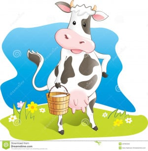 Cute cartoon cow carry bucket with milk. Lawn, flowers and sky. Vector ...