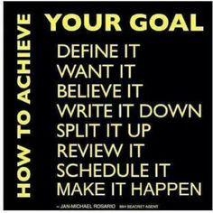 How To Achieve Your Goal Define It Want It Believe It Write It Down ...