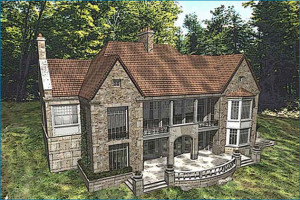 French Country Stone House Rear View