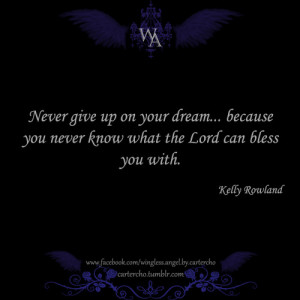 Never give up on your dream... because you never know what the lord ...