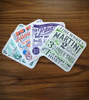 Coaster Set, with quotes from Frida Kahlo, Nina Simone, Dorothy Parker ...
