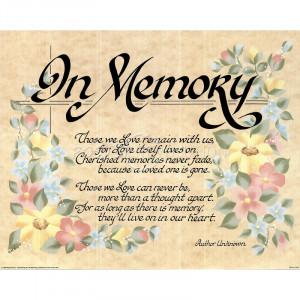 In Memory (Poem) Art Poster