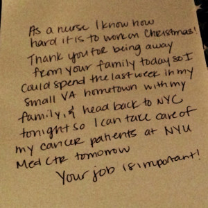nurse wrote an emotional thank you note to her flight crew.