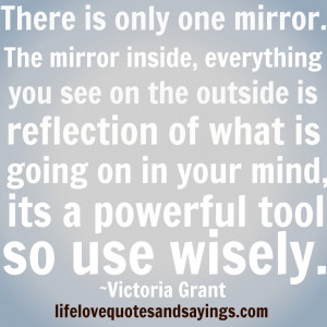 The mirror inside everything you see on the outside is a reflection