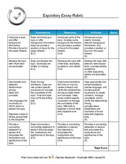 rubric expository essay high school