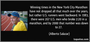 Winning times in the New York City Marathon have not dropped all that ...