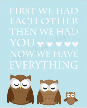 Blue and Brown Owl Nursery Quote Print - 8x10