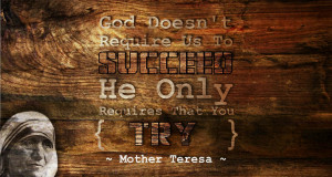 God doesn't require us to succeed. He only requires that you TRY