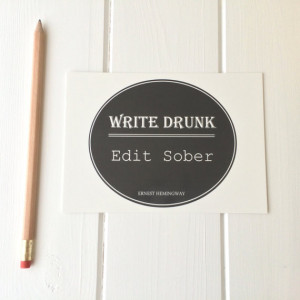 Ernest Hemingway Quote Postcard 'Write Drunk, Edit Sober'