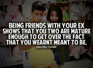 Being Friends with your EX shows that you two are mature enough to get ...