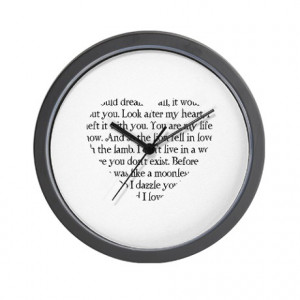 ... Gifts > Bella Living Room > Twilight Romantic Quotes Heart Wall Clock