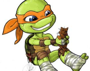 MICHELANGELO & KLUNK from Teenage M utant Ninja Turtles - waterproof ...