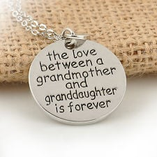 Grandmother Granddaughter Silver Love Quote Charm Round Heart Pendant ...