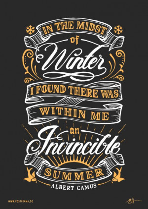 Inspirational quotes: Albert Camus Invincible Summer poster 200714 # ...
