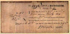 image of a reciept for the whiskey tax
