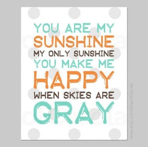 You Are My Sunshine Quote Wall Art Print Personalized by ofCarola, $12 ...