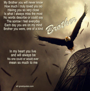 Memorial Cards For Brother – My Brother you will never know, How ...
