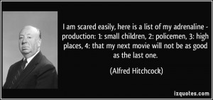 ... my next movie will not be as good as the last one. - Alfred Hitchcock