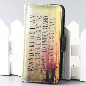 Home wallet case wanderlust movie quote wallet case for iphone 4,4s,5 ...