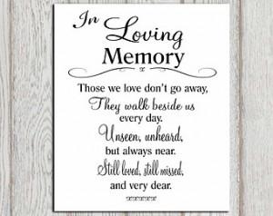 In loving memory printable Memorial table Wedding memorial sign ...