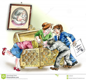 Comic illustration of Greedy heirs fighting over grandmother`s ...