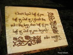 Bilbo Baggins Quote Hobbit Saying Wall Hanging The Hobbit Fan Gift ...
