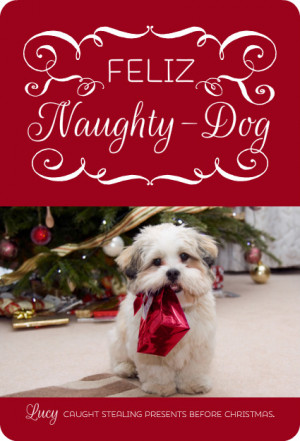 Feliz Naughty Dog Christmas Photo Card by PurpleTrail.com.