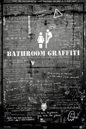 Bathroom Graffiti Club Girls Boys Funny Quotes Drunk Rare Poster Print ...
