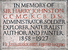 Wall plaque commemorating Sir Harry Johnston in St. Nicholas' parish ...