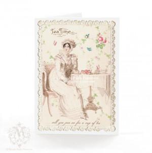 Jane Austen card, Regency high tea, greeting card, Tea, vintage lace ...