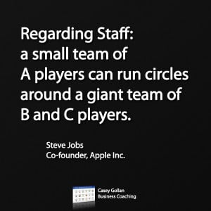 Regarding Staff: a small team of A players can run circles around a ...