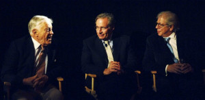 Ben Bradlee, Bob Woodward, and Carl Bernstein, shown at a 2005 ...