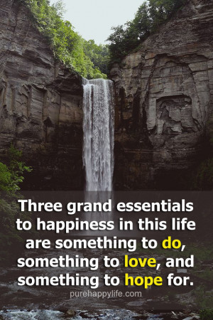 Happiness Quote: Three grand essentials to happiness in this life are ...
