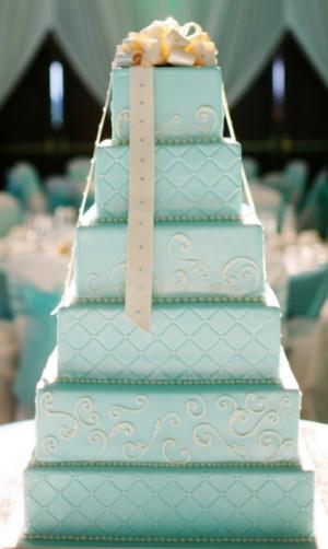 wedding-caketiffany-blue-square-wedding-cake-bow-tie-archives-weddings ...
