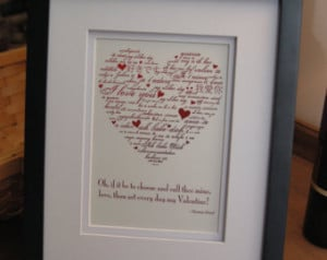 Framed quote, romantic expression o f love. ...