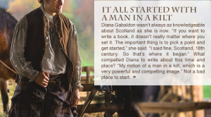 ... quotes from Diana Gabaldon, Ronald D. Moore, and costume designer