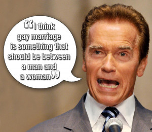 ARNOLD SCHWARZENEGGER. Someone needs to read up on Prop 8 ...