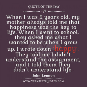 Happiness quotes, Famous John Lennon quotes, quote of the day