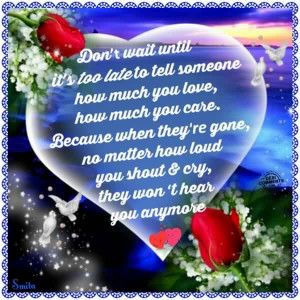 Love Care Quote Image for him or her-Don't wait untill it's too ...