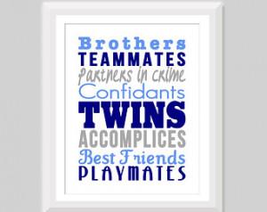 Twin Boy Nursery Art, Twin Brothers Print, Twin Nursery Decor, Twin ...