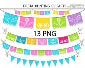 Fiesta Digital bunting clipart, mexican clip art, clipart for ...