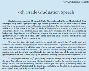 graduation speech will differ from a fifth grade graduation speech ...