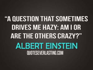 question that sometimes drives me hazy am I or are the others crazy ...