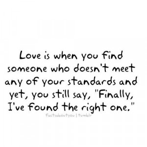 Love is when you find someone who doesnt meet any of your standards ...